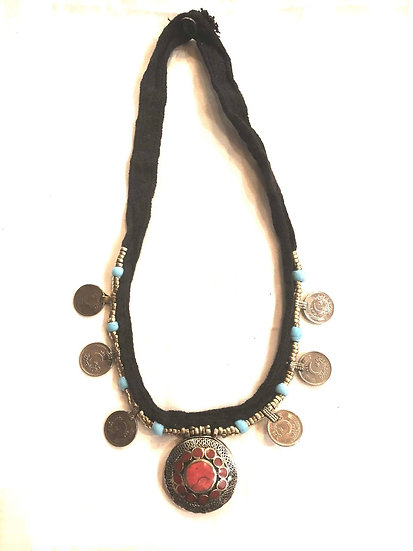 Kuchi Necklace with Coins and Pendant - TKN300