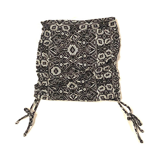 Ruched Mini Skirt - Black / White Print - S - RMNS600