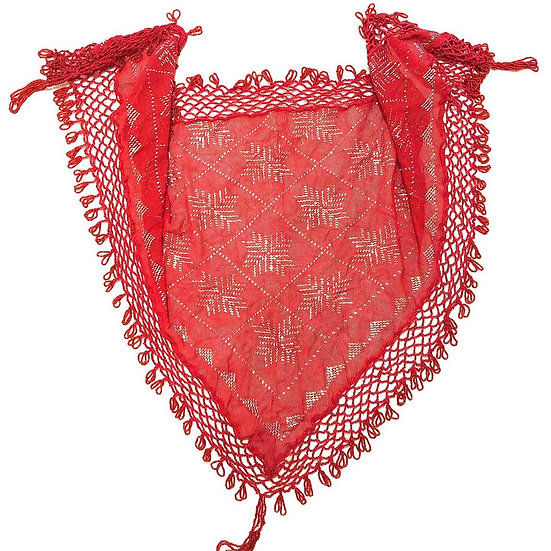 Red Assuit Scarf with Beaded Fringe - BASF802