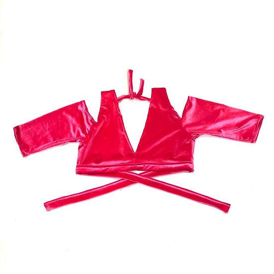 Pink Drop Shoulder Velvet Choli  - Size S - DSC279