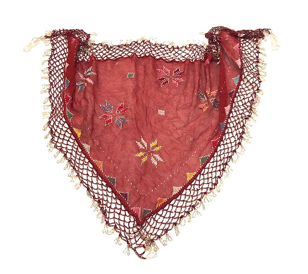 Embroidery and Metal Assuit Scarf with Beaded Fringe - BASF200