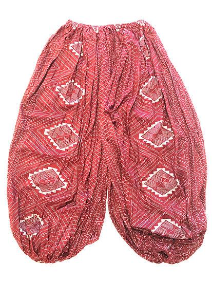 Cotton Pantaloons - Assuit Print - Burgundy / Silver - CPT101