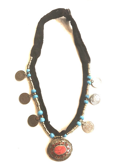 Kuchi Necklace with Coins and Pendant - TKN301