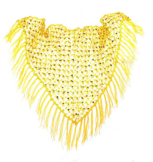 Yellow Sequins Crochet Net Scarf - SCFC3