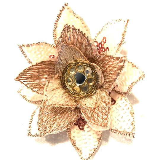 Rosey Gold Mini Hair Flower - MHF33