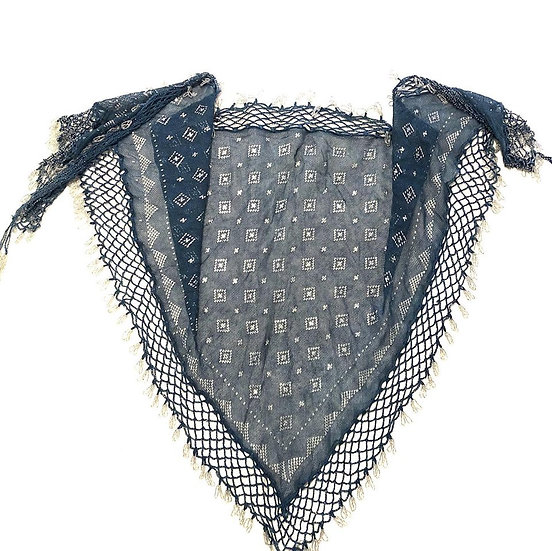 Indigo Assuit Scarf with Beaded Fringe - BASF301