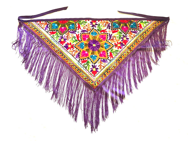 Embroidery Fringe Scarf - EFS102