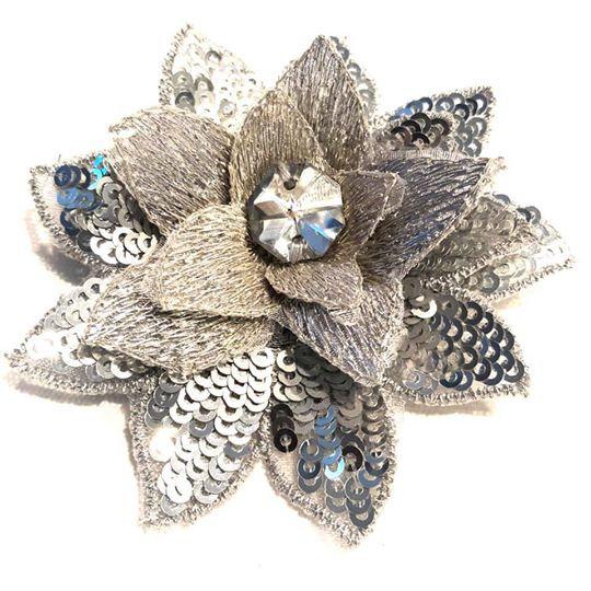 Silver Mini Hair Flower - MHF35