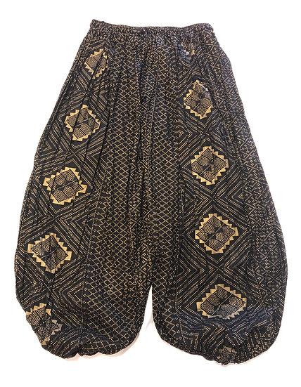 Cotton Pantaloons - Assuit Print - Black / Gold - CPT102