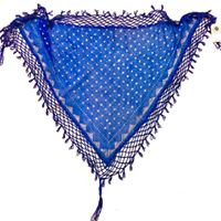 Blue Assuit Scarf with Beaded Fringe - BASF602