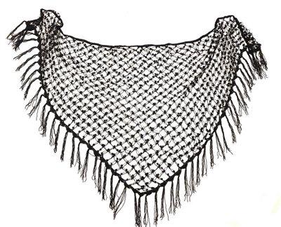 Black with Iridescent Sequins Crochet Net Scarf - SCFC17