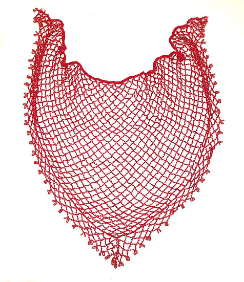 Red Beaded Scarf - BDSC102