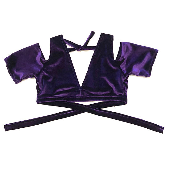 PURPLE DROP SHOULDER VELVET CHOLI - SIZE S - DSC280