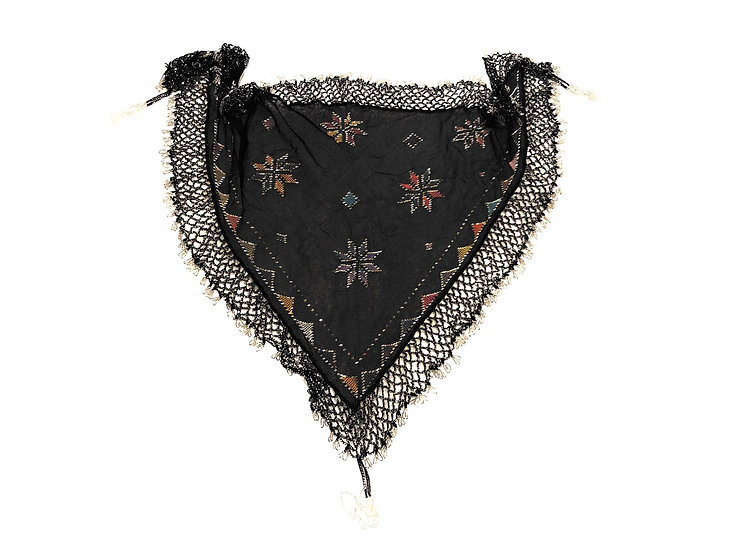 Embroidery and Metal Assuit Scarf with Beaded Fringe - BASF201