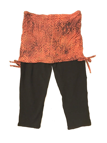 Capri Leggings with Ruched Skirt - Animal Print - L - CLRS103