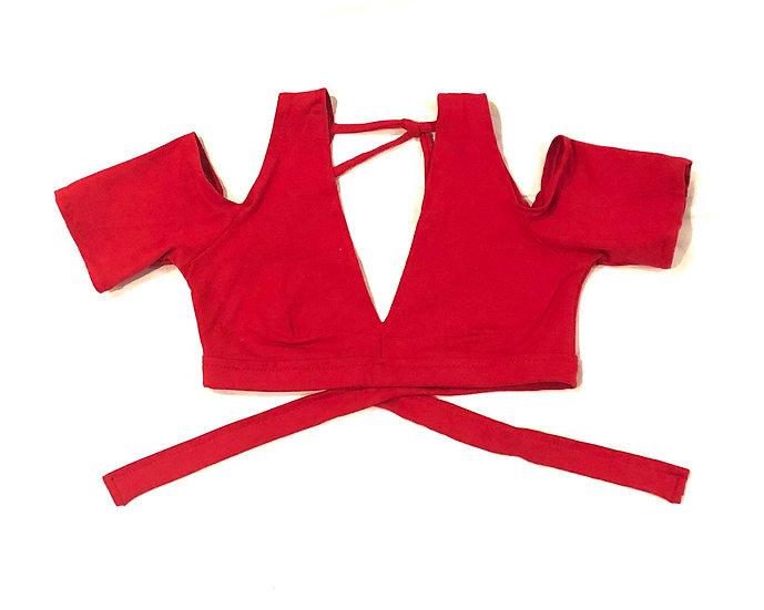 Red Drop Shoulder Cotton Choli - Size M - DSC401
