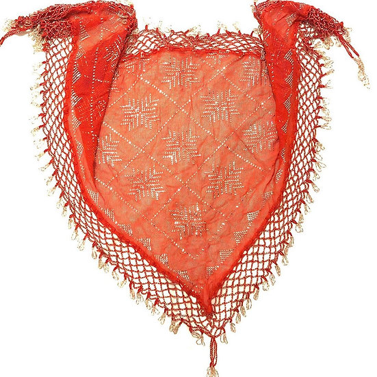 Red Assuit Scarf with Beaded Fringe - BASF800