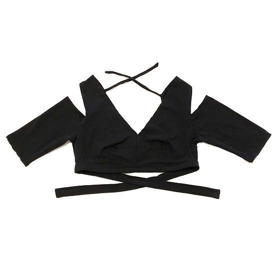 Black Drop Shoulder Cotton Choli - Size XL - DSC226