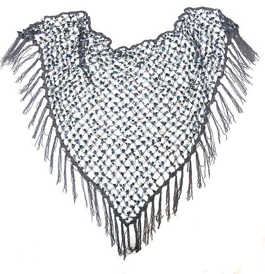 Charcoal Sequins Crochet Net Scarf - SCFC2