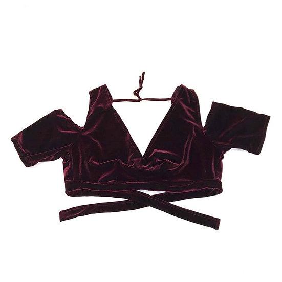 Burgundy Drop Shoulder Velvet Choli - Size 2XL - DSC295