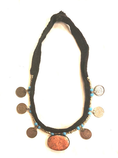 Kuchi Necklace with Coins and Pendant - TKN302