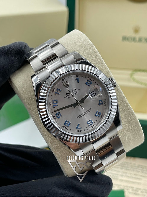KIT R. DATEJUST PRATA+CAIXA R. COM DOCUMENTOS