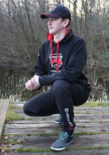 EHMANNS fishing Black Hoodie Bestickt