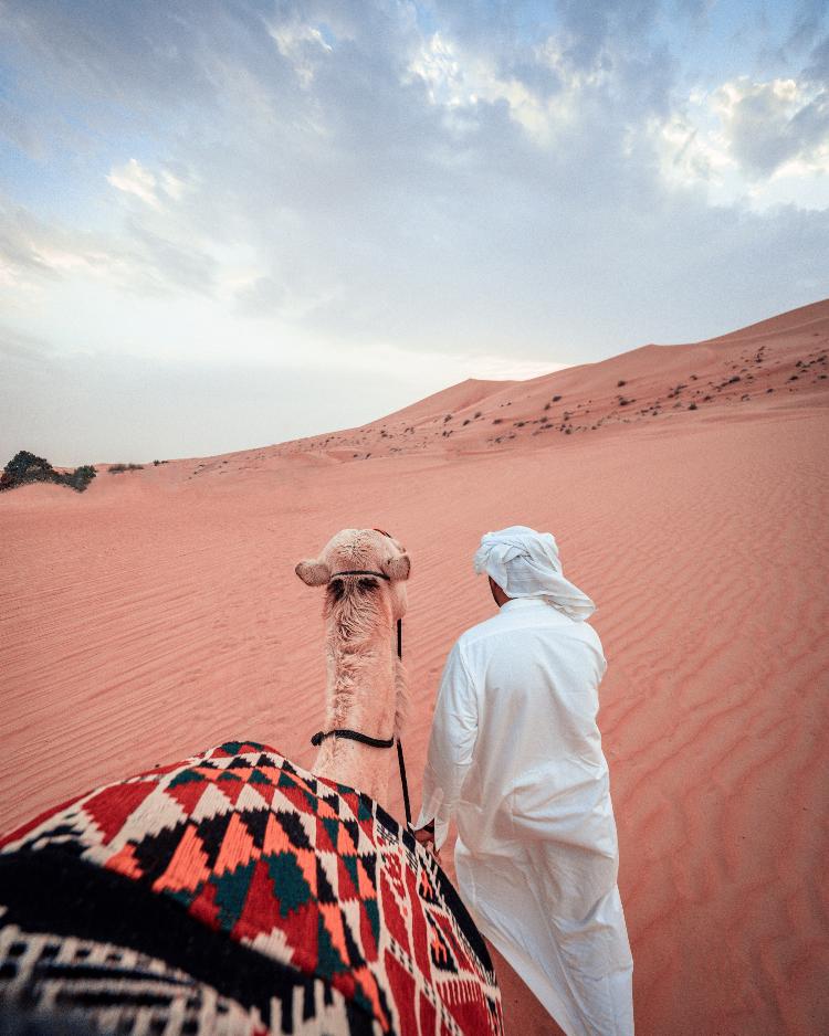 arabo nel deserto con cammello