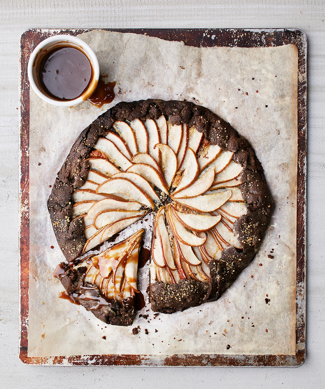 buckwheat almond flour galette with caramel & pears