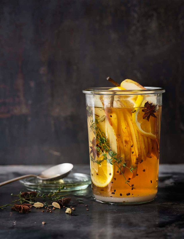 Lemon pear shrub