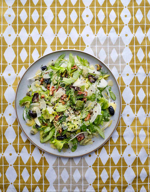 Fennel Celery walnut dill salad