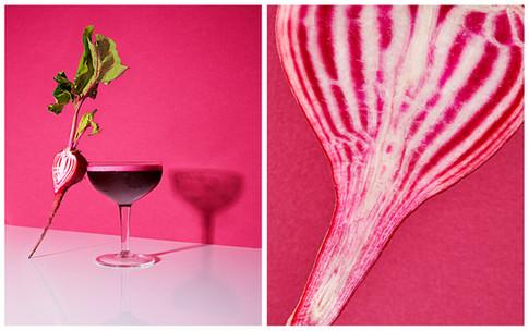 beet pink peppercorn aquafaba cocktail