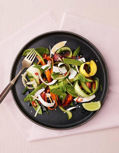 shaved coconut vegetable salad
