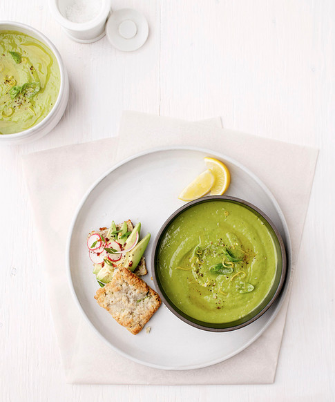 chilled pea avocado salad with herbed biscuit