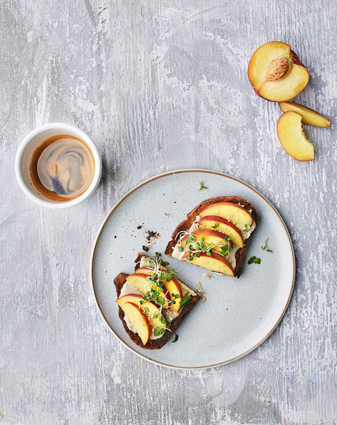 Tahini Toasts with peach & heirloom spouts