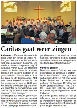 Caritas gaat weer zingen