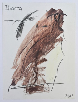 Untitled (stick figure and big black bird)