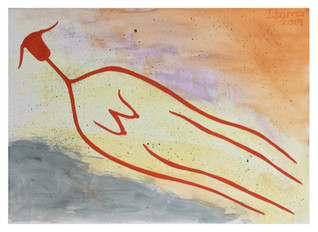 Red Figure Flying Over The Sea at Sunset