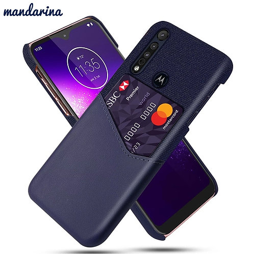 For Motorola Moto One Macro Moto G8 Play Case Leather and Fabric Splicing Shockp