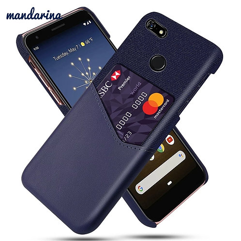 for Google Pixel 3A 4 XL Case Leather and Soft Fabric Cloth Splicing Shockproof