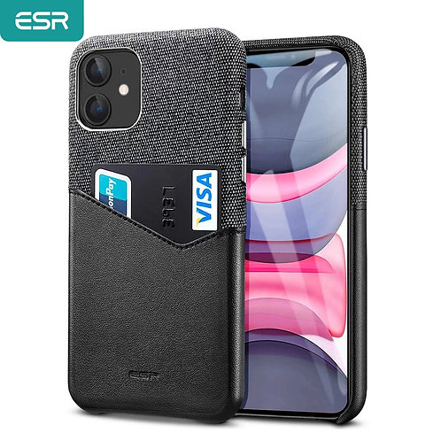 For iPhone 11 pro ESR Card Slot Cover Thin Light Leather Case with Soft Fabric