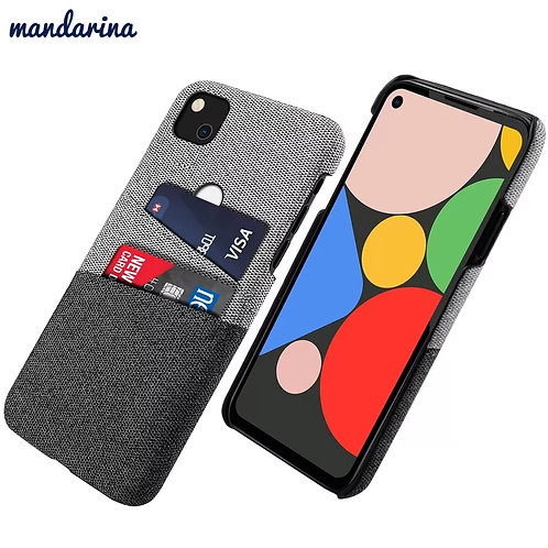 For Google Pixel 4a Case Leather and Soft Fabric Cloth Splicing Shockproof