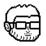 black and white pixel drawing of man with glasses