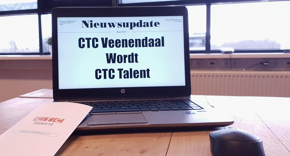 Afbeelding van een laptop met de tekst: CTC Veenendaal wordt CTC Talent Groep