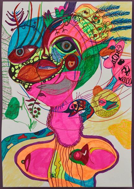 Fluo indian woman • Aquarel, kleurstiften (inkt) en balpen op papier