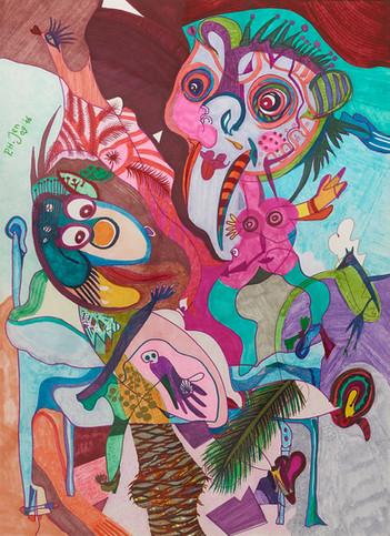 Aquarel en kleurinkt op papier