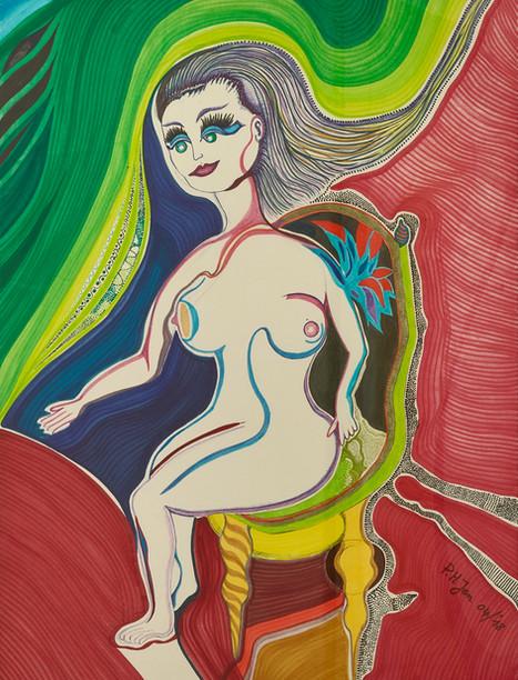 Femme nue assise • Aquarel en balpen op papier