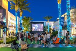 Main street at night during outdoor movie night