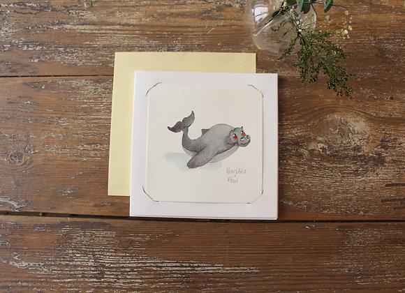 """HIPPO BALEINE "" Aquarelle by MARJOLINE FLEUR"