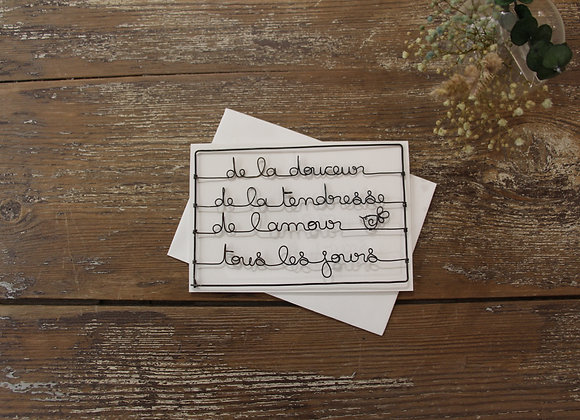"""""""DE LA DOUCEUR"""" Carte en fil de fer by AGAPI"""
